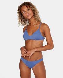3 Solid Low-Rise Cheeky Bikini Bottom Blue AVJX400189 RVCA