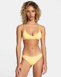 1 Solid Low-Rise Cheeky Bikini Bottom White AVJX400189 RVCA