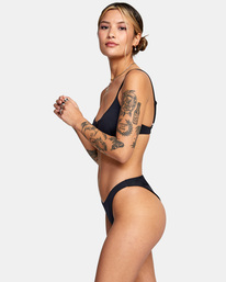 3 Solid Cheeky French Bikini Bottom Black AVJX400190 RVCA