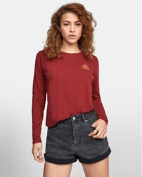 0 SET RISE LONG SLEEVE TEE Red AVJZT00124 RVCA