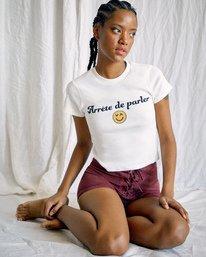 1 Camille Rowe | Arrete De Parler T-Shirt White AVJZT00344 RVCA