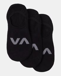 1 3 Pack RVCA Logo No Show Socks Black AVYAA00178 RVCA