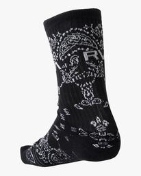 3 2 Pack Bandana Crew Socks Black AVYAA00184 RVCA