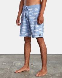 """4 Ben Horton   Fish Boardshorts 19"""" Blue AVYBS00157 RVCA"""