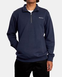 1 Keats Half-Zip Mock Neck Pullover Blue AVYFT00157 RVCA