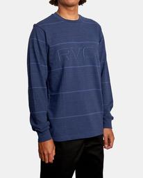 5 Spent Stripe Long Sleeve Tee Blue AVYKT00163 RVCA