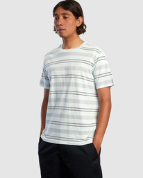 4 Travelers Stripe Short Sleeve Tee Green AVYKT00168 RVCA