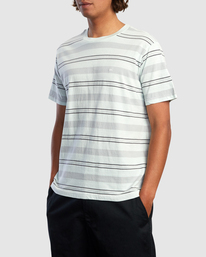 6 Travelers Stripe Short Sleeve Tee Green AVYKT00168 RVCA