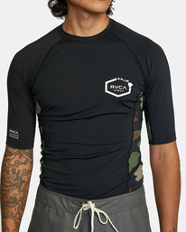 1 Island Hex Short Sleeve Rashguard Black AVYWR00103 RVCA