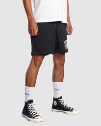 "5 Matty Matheson | Matty Mesh Elastic Shorts 16"" Black AVYWS00146 RVCA"