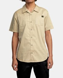 1 Recession   Day Shift Short Sleeve Shirt Beige AVYWT00147 RVCA