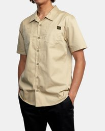 4 Recession   Day Shift Short Sleeve Shirt Beige AVYWT00147 RVCA