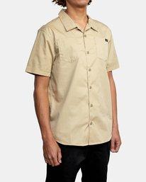 5 Recession   Day Shift Short Sleeve Shirt Beige AVYWT00147 RVCA