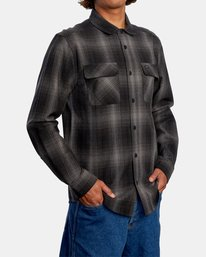 5 Vesuvio Long Sleeve Flannel Shirt Black AVYWT00169 RVCA