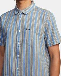 4 Harbour Stripe Short Sleeve Shirt Brown AVYWT00195 RVCA