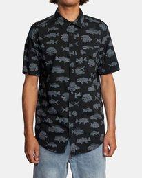 1 Ben Horton | Dead Fish Short Sleeve Shirt Black AVYWT00205 RVCA