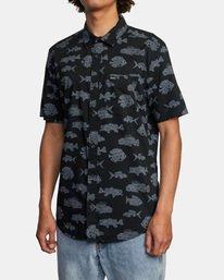 3 Ben Horton | Dead Fish Short Sleeve Shirt Black AVYWT00205 RVCA