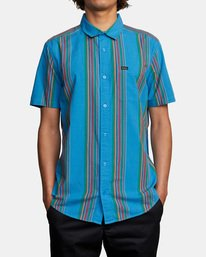 1 El Rosario Stripe Short Sleeve Shirt Blue AVYWT00207 RVCA