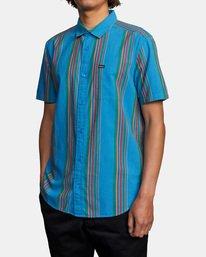 3 El Rosario Stripe Short Sleeve Shirt Blue AVYWT00207 RVCA