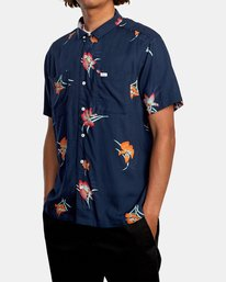 4 Cliffs Floral Short Sleeve Shirt Blue AVYWT00229 RVCA