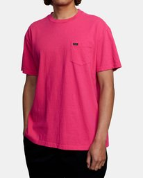 4 SOLO LABEL PIGMENT DYE SHORT SLEEVE TEE Red AVYZT00301 RVCA