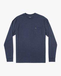 0 Solo Label Long Sleeve Tee Blue AVYZT00645 RVCA