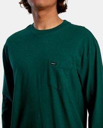 4 Solo Label Long Sleeve Tee Green AVYZT00645 RVCA
