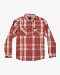 0 Boy's Wanted Plaid Flannel Red B551SRWA RVCA