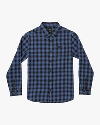 0 BOY'S TELEGRAPH FLANNEL T-SHIRT Blue B5541RTG RVCA