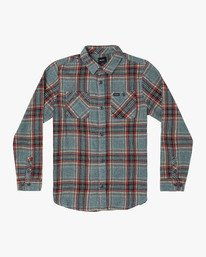 0 Boy's Mazzy Flannel Button-Up Shirt Grey B556WRMZ RVCA