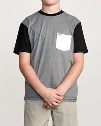 0 Boy's Ollie Color Block T-Shirt Grey B905UROL RVCA