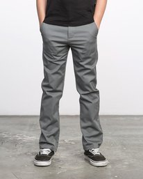 0 BOY'S WEEKDAY STRETCH straight fit PANT Grey BC301WDS RVCA