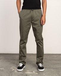 0 WeekEnd Elastic straight fit Pant Green M302TRWE RVCA
