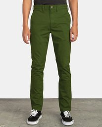 0 DAGGERS SLIM-STRAIGHT CHINO PANTS Green M309QRDC RVCA