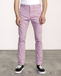 0 DAGGERS SLIM-STRAIGHT CHINO PANTS Purple M309QRDC RVCA