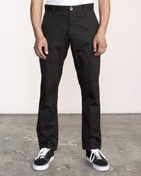 0 week-end Stretch straight fit Pant Black M314VRWS RVCA