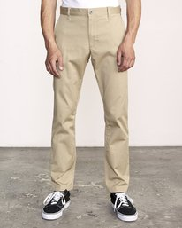0 week-end Stretch straight fit Pant Beige M314VRWS RVCA