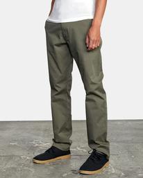 4 week-end Stretch straight fit Pant Green M3493RWS RVCA