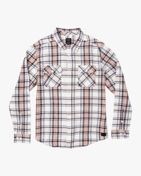 0 Avett Flannel Long Sleeve Shirt White M504VRAV RVCA