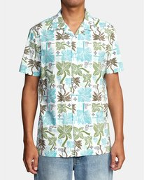0 OBLOW PALMS SHORT SLEEVE SHIRT White M5104ROP RVCA