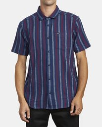 0 DISPLACED STRIPE SHORT SLEEVE SHIRT Blue M5133RDS RVCA