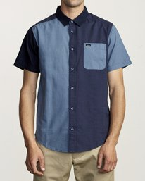 0 BLOCKED CRUSHED BUTTON-UP SHIRT Blue M5151RBC RVCA