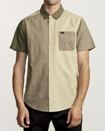 0 BLOCKED CRUSHED BUTTON-UP SHIRT Green M5151RBC RVCA