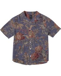 2 Beat Print Short Sleeve Shirt Blue M5153RBS RVCA