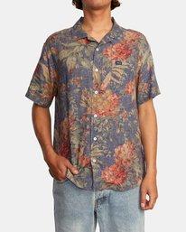 3 Beat Print Short Sleeve Shirt Blue M5153RBS RVCA