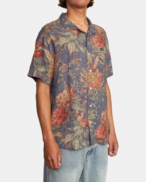 6 Beat Print Short Sleeve Shirt Blue M5153RBS RVCA