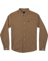 0 THATLL DO STRETCH LONG SLEEVE SHIRT Brown M551VRTD RVCA