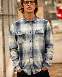 0 Muir Plaid Long Sleeve Flannel Blue M552TRMF RVCA