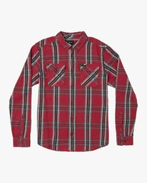 0 Reverberation Plaid Button-Up Flannel Red M552WRRV RVCA