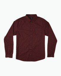0 Vu Long Sleeve Button-Up Shirt Red M553SRVU RVCA